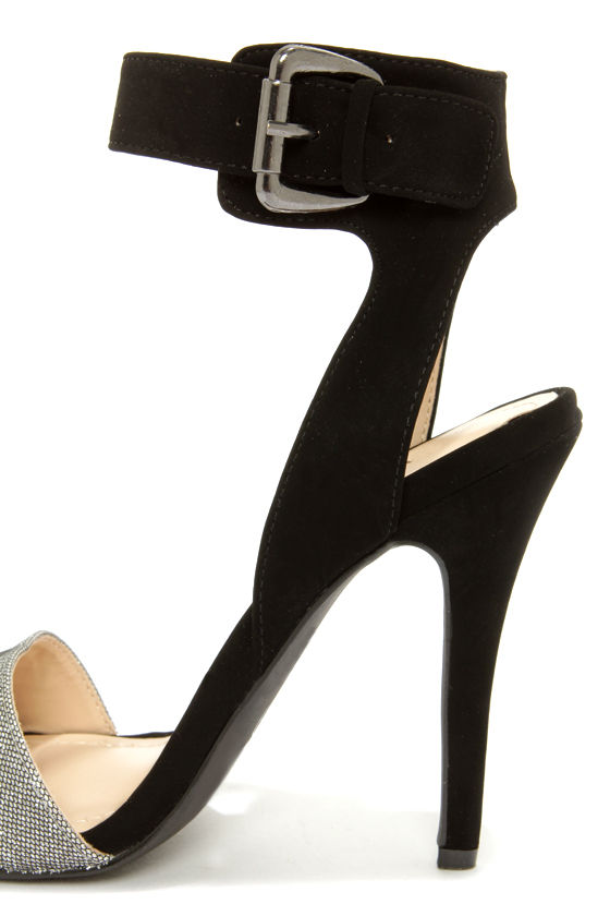 Anne Michelle Enzo 64 Black and Silver Ankle Strap Heels at Lulus.com!