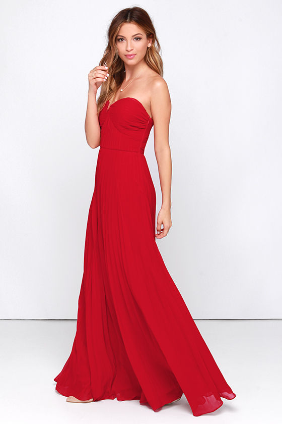 Red Dress - Maxi Dress - Strapless Dress - Pleated Dress - $89.00