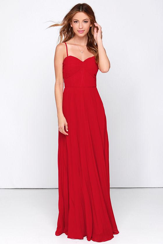 Red Dress - Maxi Dress - Strapless Dress - Pleated Dress - $89.00