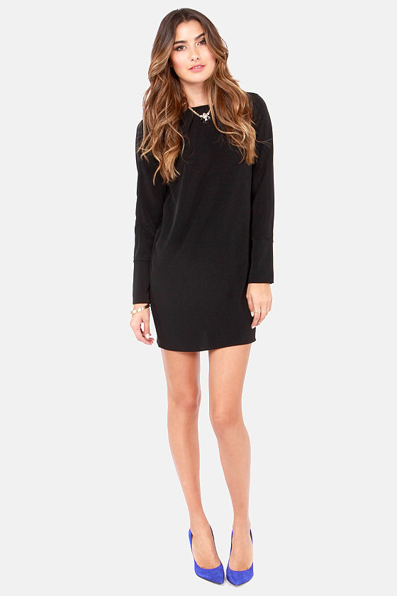 Shift Into Gear Black Shift Dress at Lulus.com!