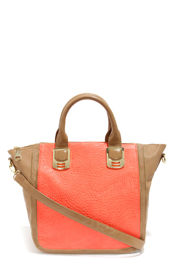 Steve Madden BGaambit Beige and Coral Orange Tote at Lulus.com!