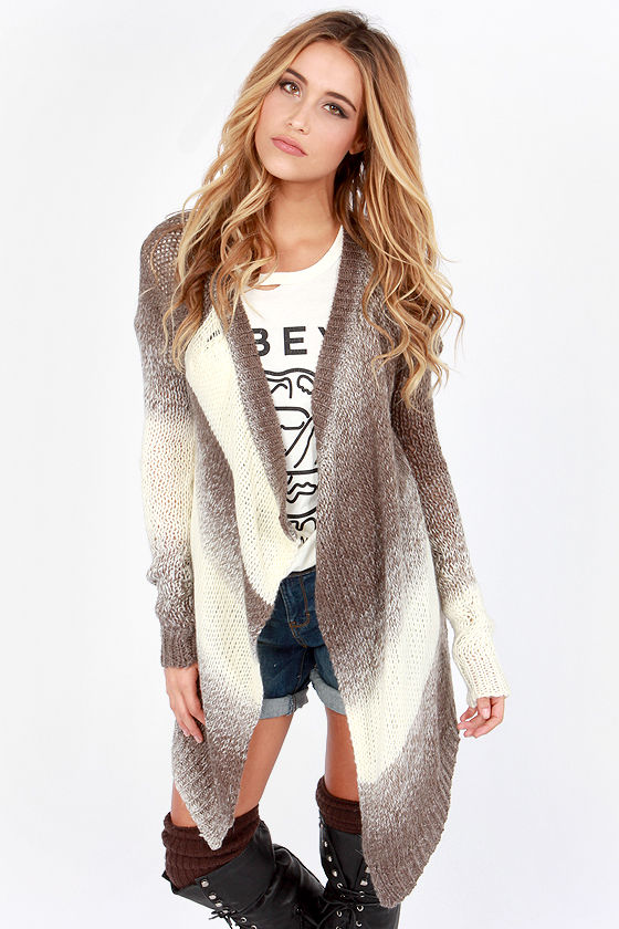 Ombre Sweater - Cardigan Sweater - Taupe Sweater - $66.00