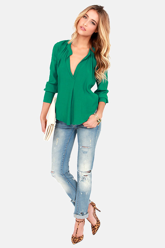 Lucy Love Pickadilly Emerald Green Top at Lulus.com!