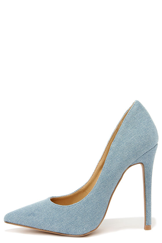 Cute Blue Pumps - Denim Pumps - Pointed Pumps - $34.00