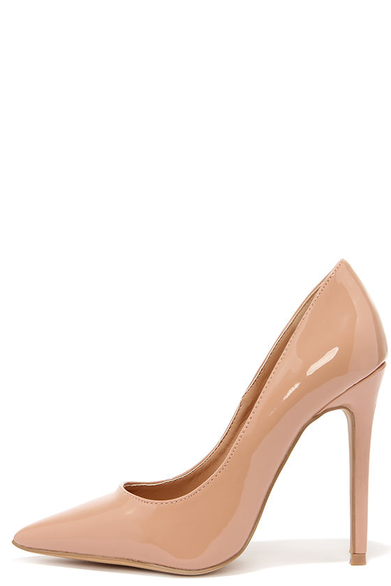 Cute Patent Pumps - Pointed Pumps - Patent Leather Heels -  34.00