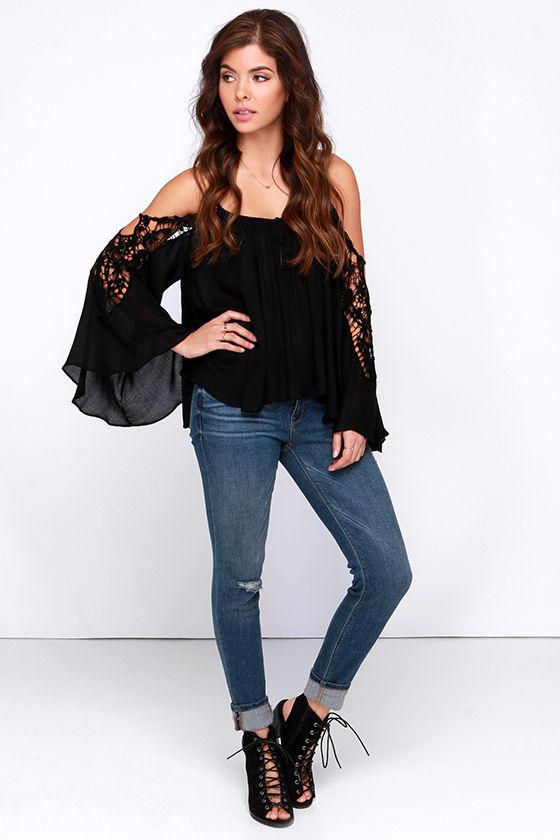 530d4a224018 Cute Black Top - Black Lace Top - Off The Shoulder Top - Cold Shoulder Top  - $37.00