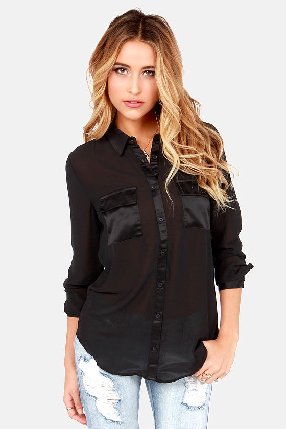 Olive & Oak The Reveal Thing Sheer Black Button-Up Top at Lulus.com!