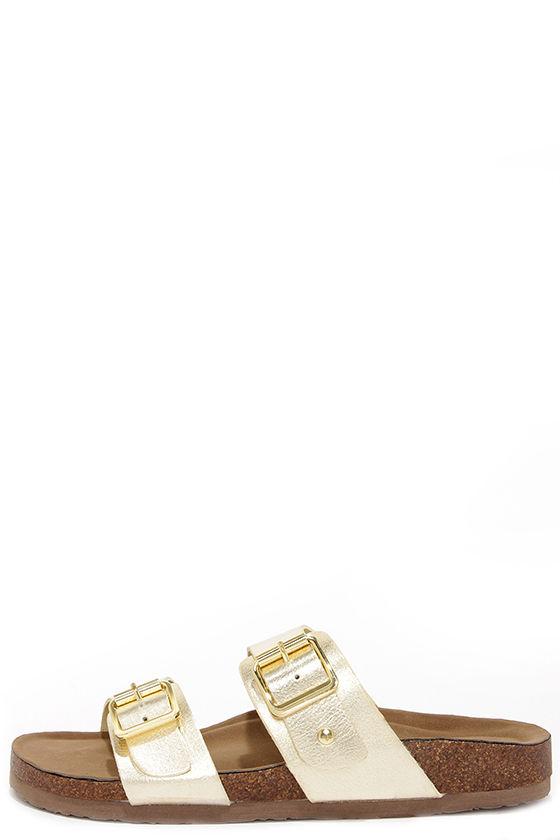 71e99a6e3d401 Cute Gold Sandals - Slide Sandals -  39.00
