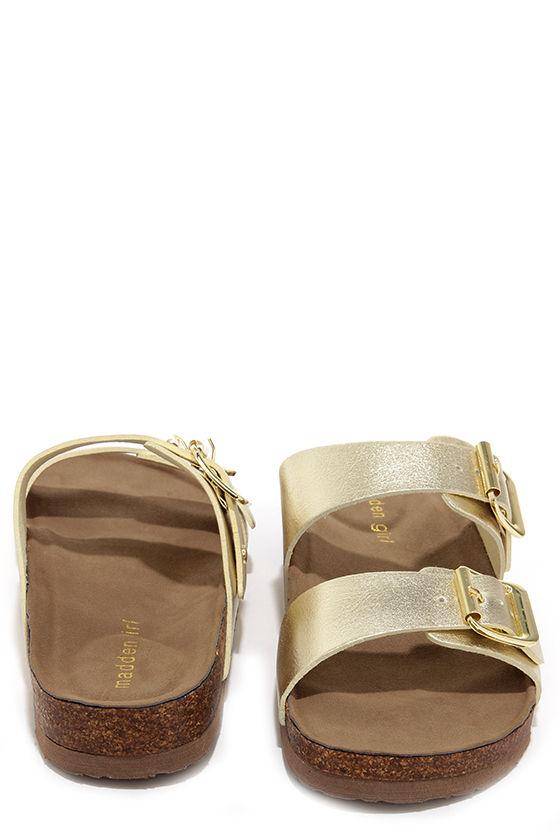 b136cb6495d5f Madden Girl Brando Gold Buckled Slide Sandals