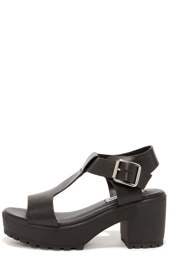 14379043a Cute Black Sandals - T-Strap Sandals - Platform Sandals -  79.00