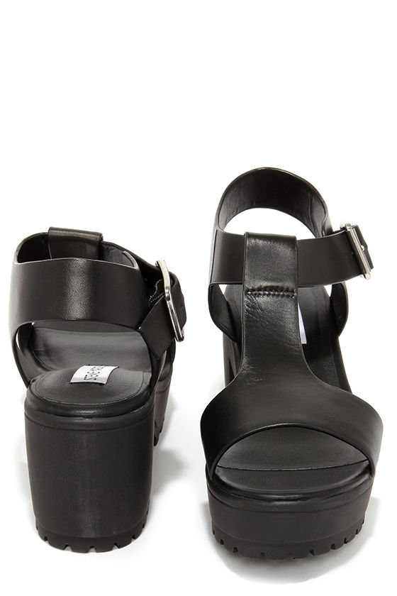 d81f37017ed Cute Black Sandals - T-Strap Sandals - Platform Sandals -  79.00