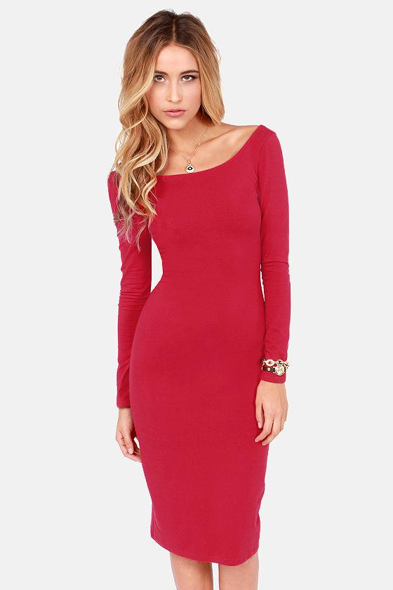 82e010dc77e9 Sexy Red Dress - Bodycon Dress - Long Sleeve Dress - Midi Dress -  39.00