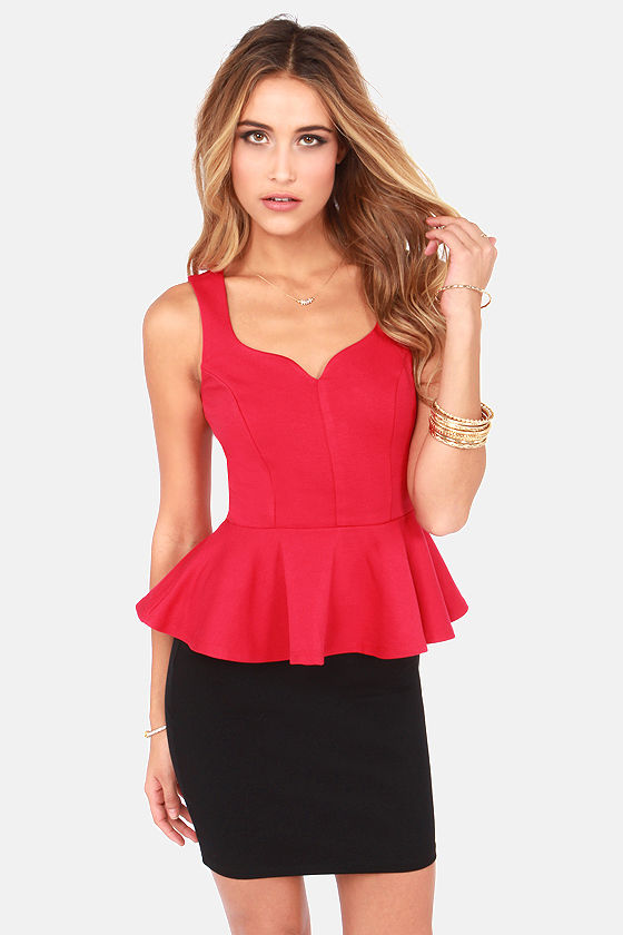 My Kind of Night Red Peplum Top at Lulus.com!