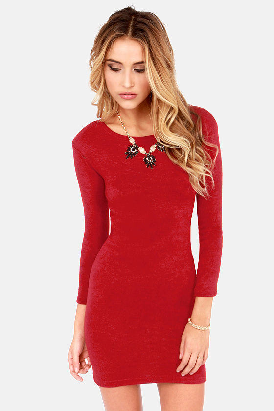 Cute Red Dress - Sweater Dress - Long Sleeve Dress - $35.00