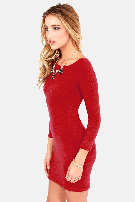 Cute Red Dress - Sweater Dress - Long Sleeve Dress - $35.00