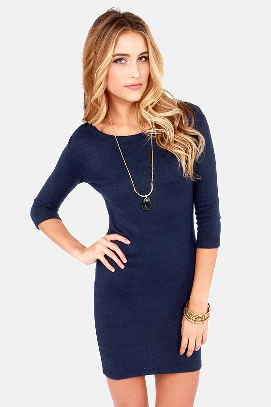 Cute Blue Dress - Sweater Dress - $37.00