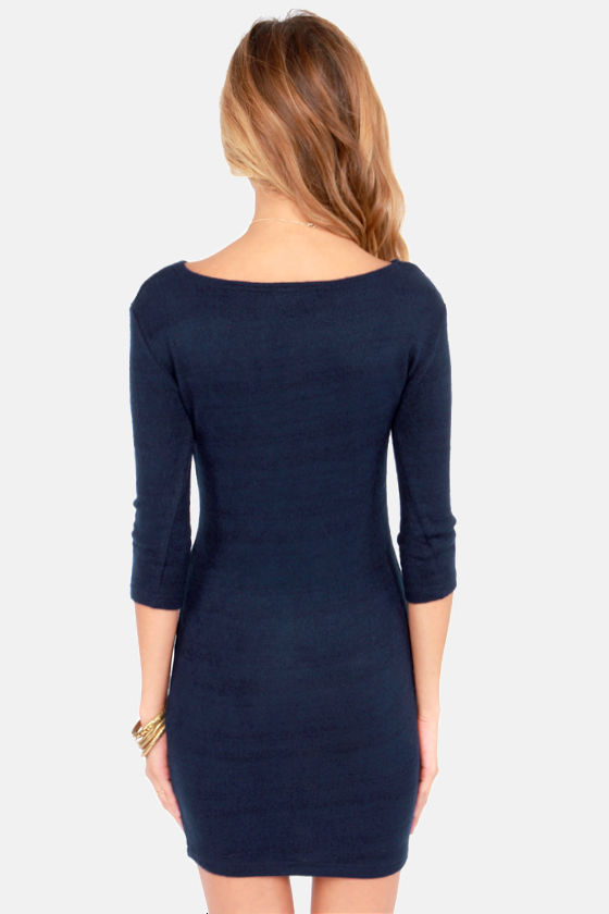 The Sooner the Sweater Navy Blue Sweater Dress at Lulus.com!
