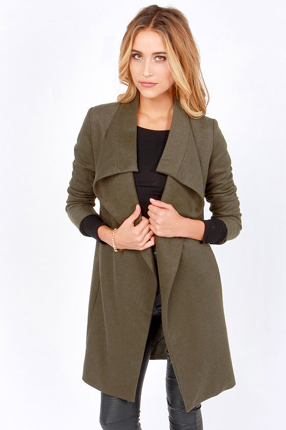 Cute Olive Green Coat - Long Coat - Wool Coat - $73.00