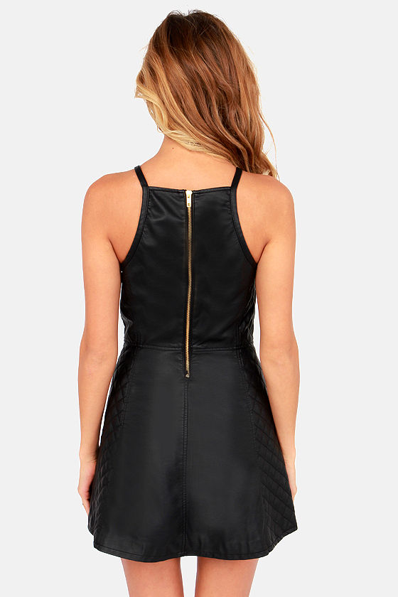 Obey Party On Black Quilted Vegan Leather Dress at Lulus.com!