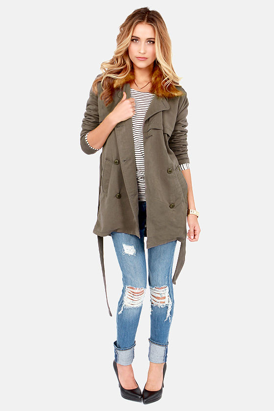 Obey Chelsea Army Green Trench Coat at Lulus.com!