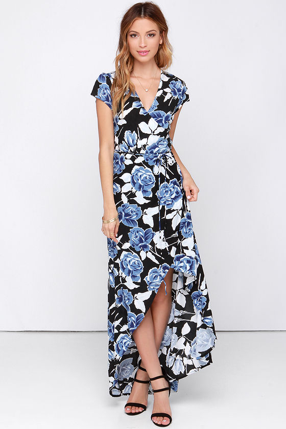 bfbf726b4 Faithfull the Brand Lulu Dress - Maxi Dress - Black Floral Print Dress - Wrap  Dress -  117.00