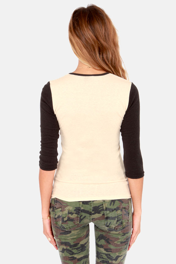 Obey Boca Raton Nubby Black and Beige Top at Lulus.com!