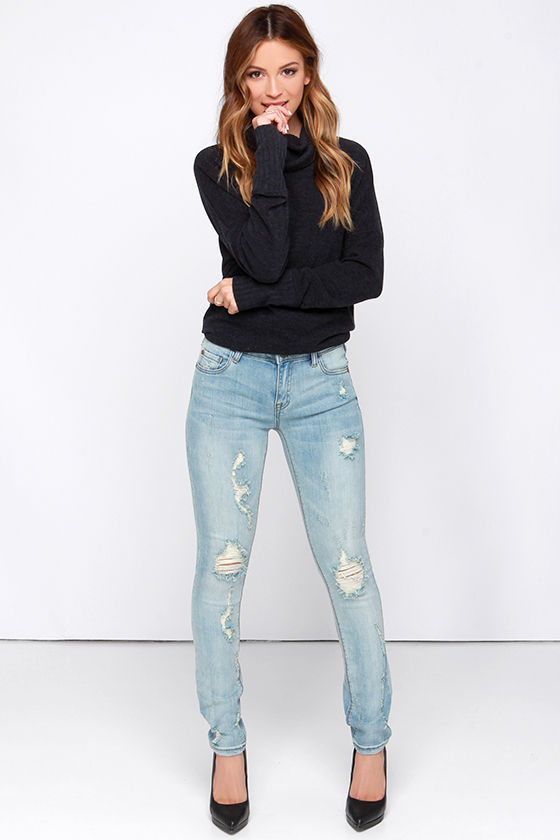 Cute Light Wash Jeans - Skinny Jeans - Distressed Jeans - $60.00