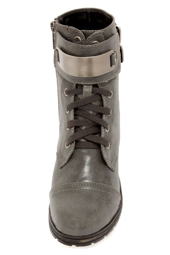 Biker 11 Gray Silver-Plated Combat Boots at Lulus.com!