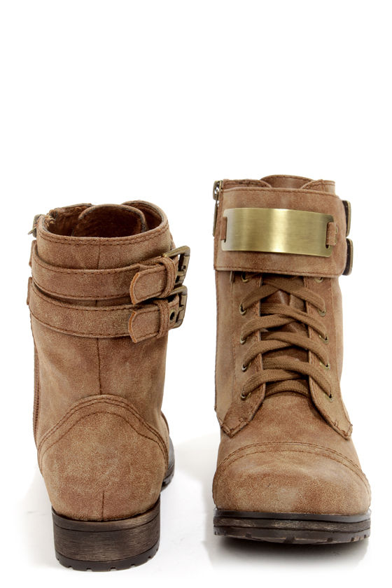Biker 11 Tan Gold-Plated Combat Boots at Lulus.com!