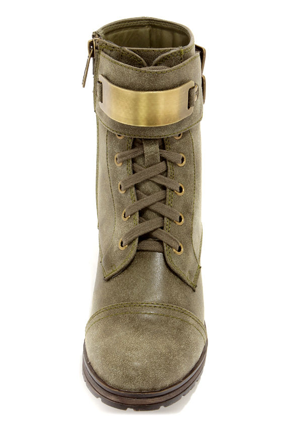 Biker 11 Military Green Gold-Plated Combat Boots at Lulus.com!