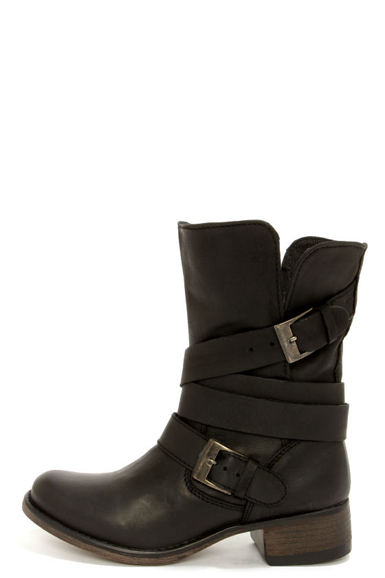 Cute Black Boots Belted Boots Mid Calf Boots 129 00