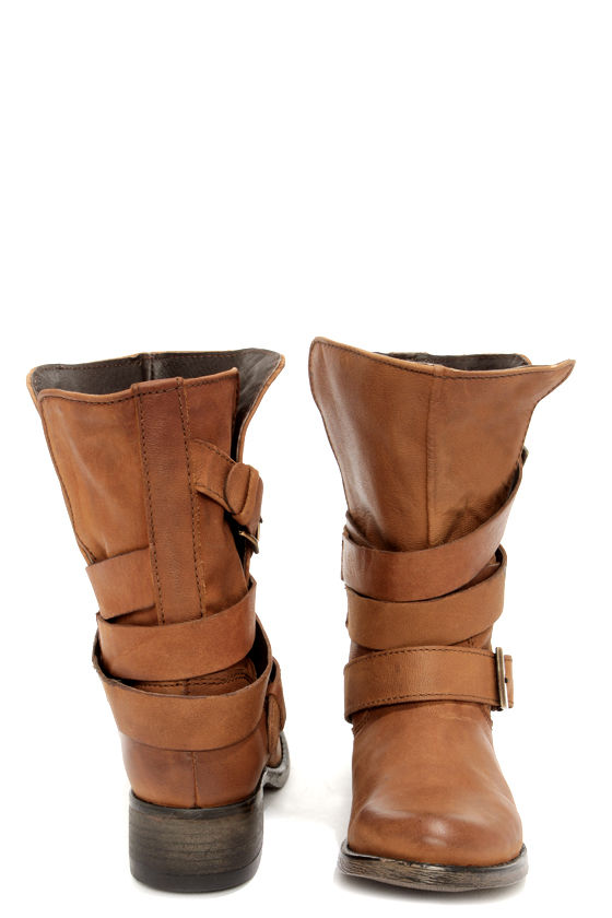 e30a434ebd5 Cute Cognac Boots - Belted Boots - Mid-Calf Boots -  129.00