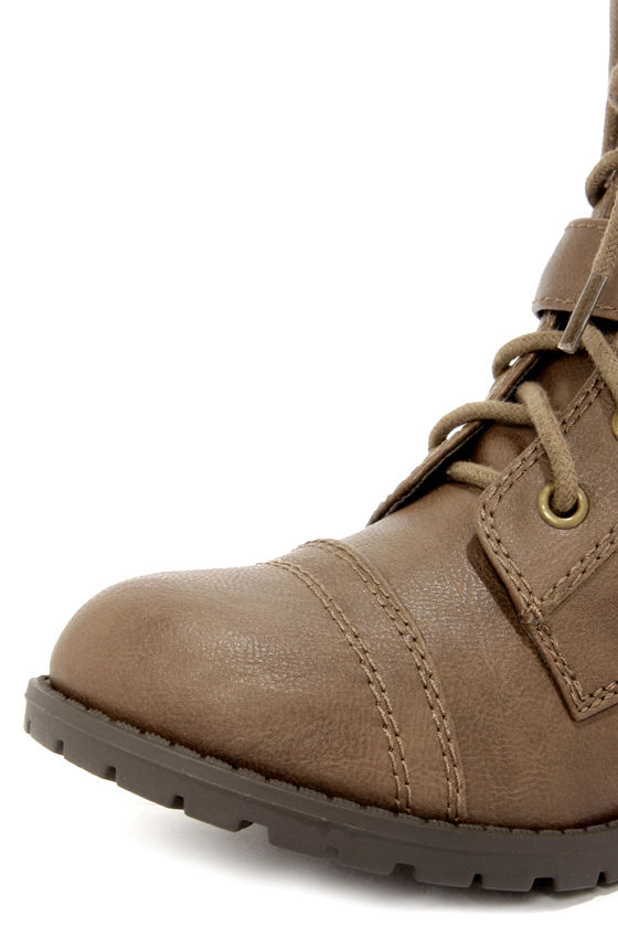 Soda Desti Tan Mid-Calf Combat Boots at Lulus.com!
