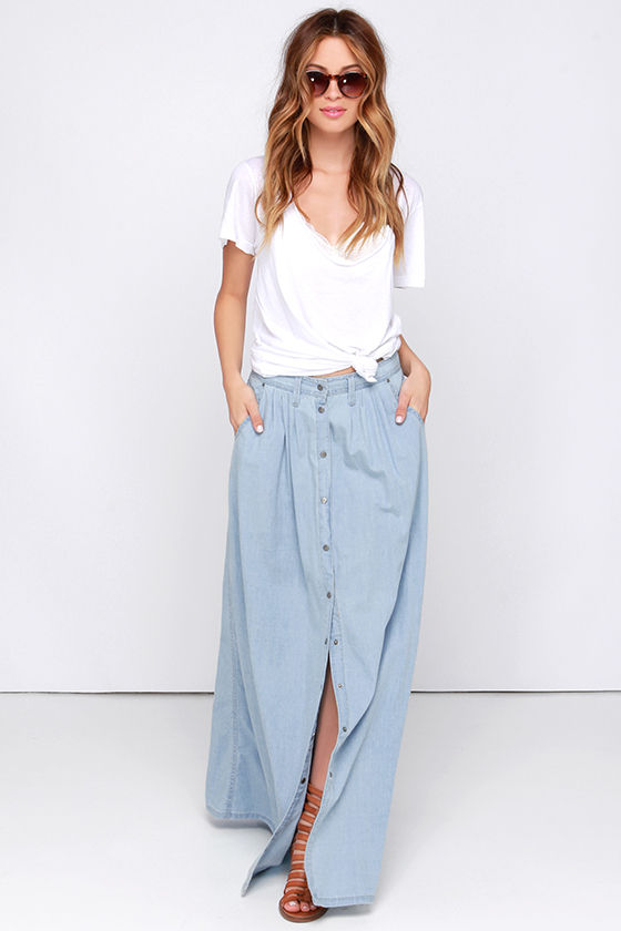 Baez Blue Chambray Maxi Skirt 2