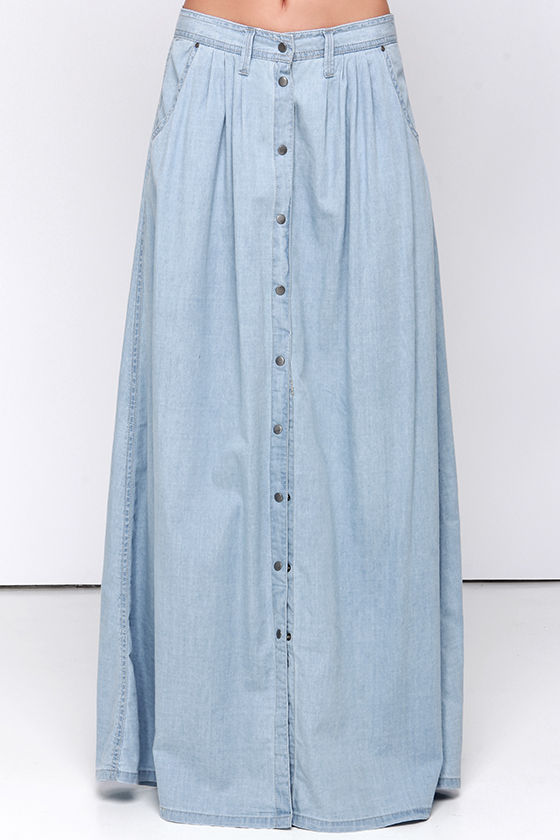 Baez Blue Chambray Maxi Skirt 3