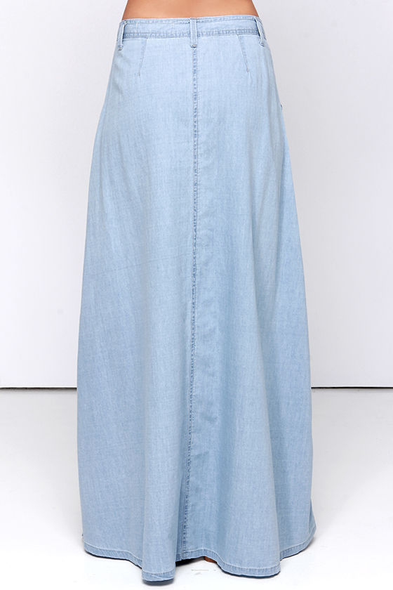 Baez Blue Chambray Maxi Skirt 4