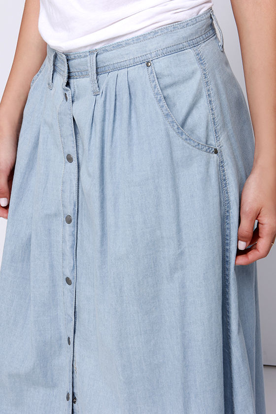 Baez Blue Chambray Maxi Skirt 5