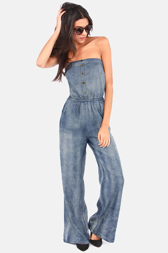 Strapless Jumpsuit - Denim Jumpsuit - Blue Jumpsuit - $45.00