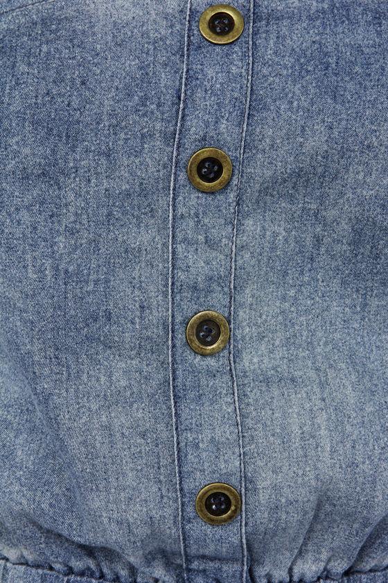 Jean Spirit Strapless Denim Blue Jumpsuit at Lulus.com!