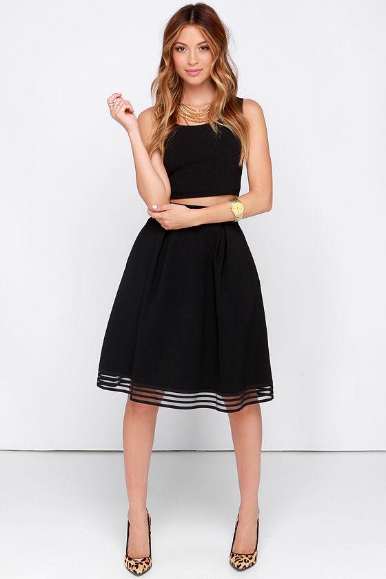 Chic Black Skirt - Midi Skirt - High Waisted Skirt - $40.00
