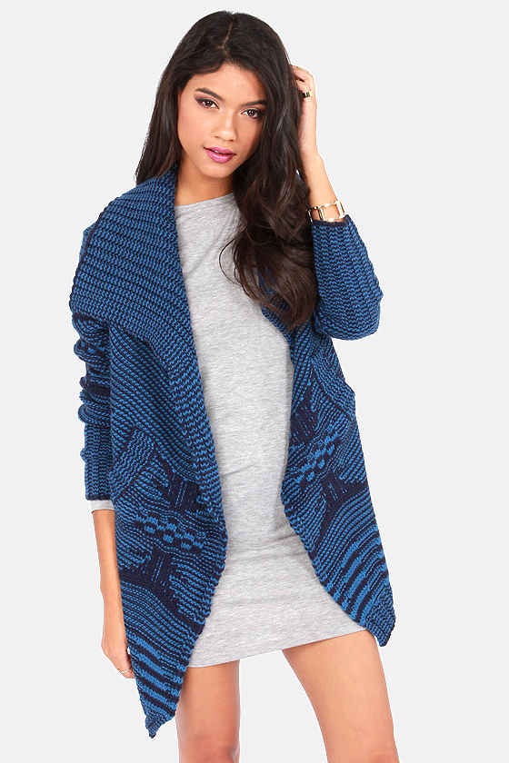 Cardi All the Time Blue Cardigan Sweater at Lulus.com!