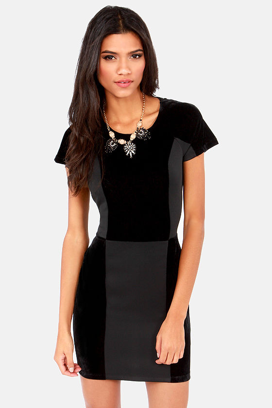 Lucca Couture Dress - Black Dress - Color Block Dress - Velvet ...