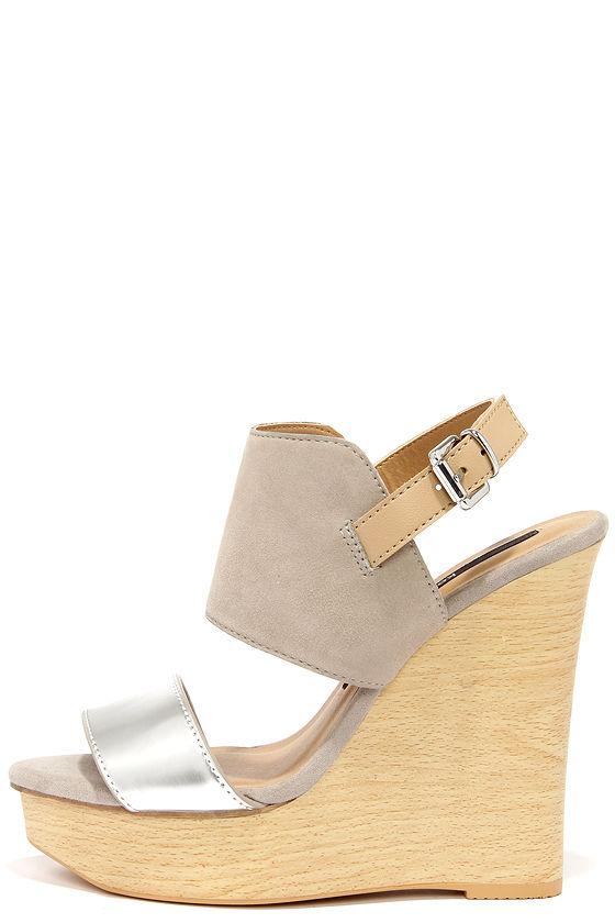 Kensie Devora Silver Suede Leather Platform Wedge Sandals