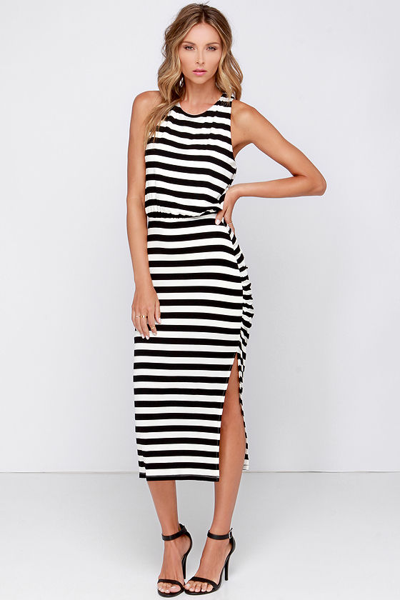 9cb8e9c7e2e Cute Black and Ivory Dress - Striped Dress - Midi Dress -  81.00