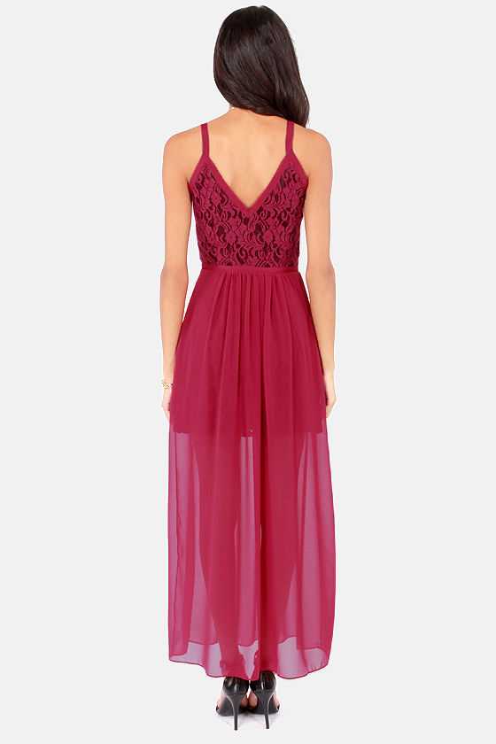 Gentle Fawn Diamond Burgundy Lace Maxi Dress at Lulus.com!