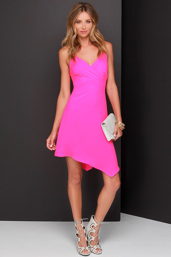 Pretty Neon Pink Dress - Sleeveless Dress - Surplice Dress - $61.00