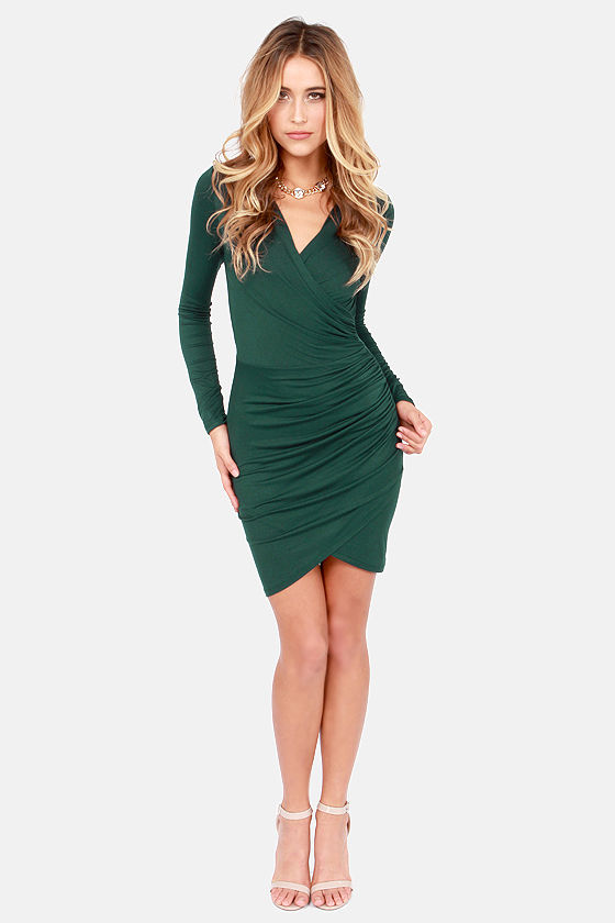 Cute Hunter Green Dress - Bodycon Dress - Long Sleeve Dress - $42.00