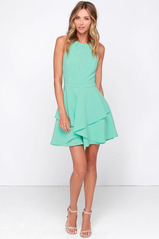 Pretty Mint Dress - Sleeveless Dress - Skater Dress - $93.00