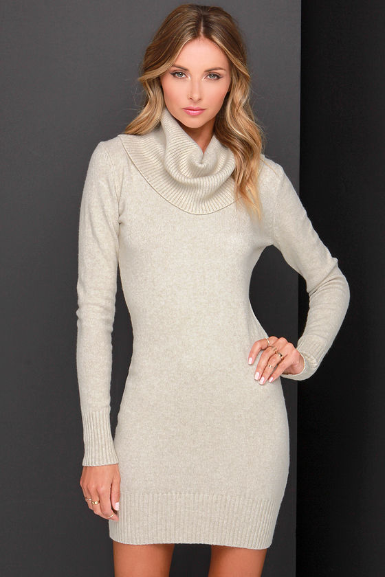 Cute Beige Dress - Sweater Dress - Cowl Neck Dress - $70.00