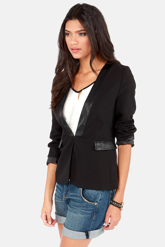 On and Office Again Black Blazer at Lulus.com!